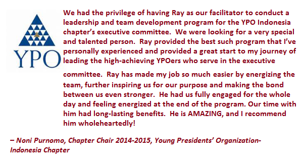YPO Indonesia testimonial for Ray Jefferson